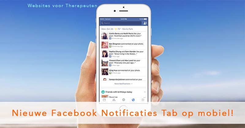 Nieuwe Facebook Notificaties Tab op mobiele telefoon